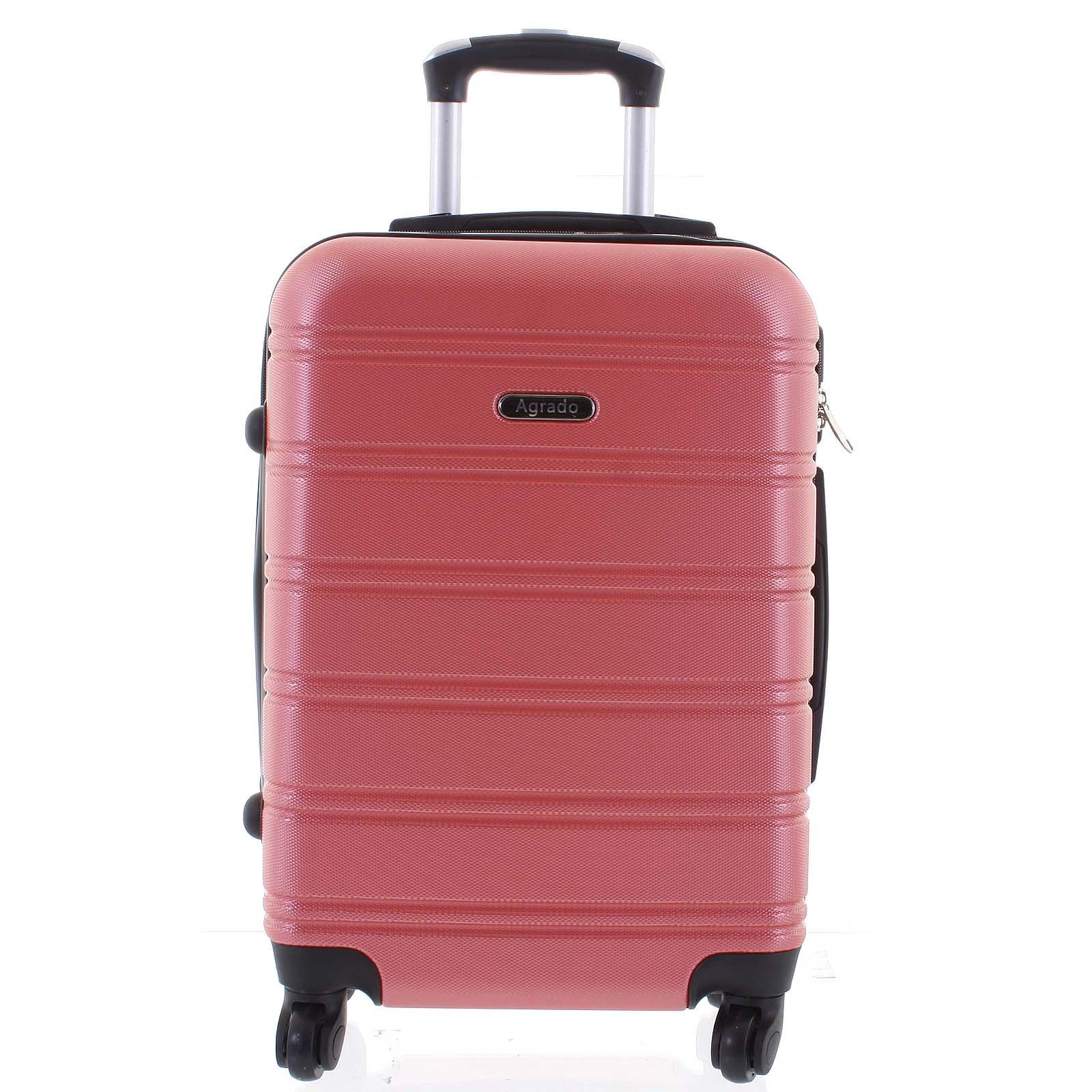 Kvalitní a elegantní pevný růžový cestovní kufr - Agrado Michael S