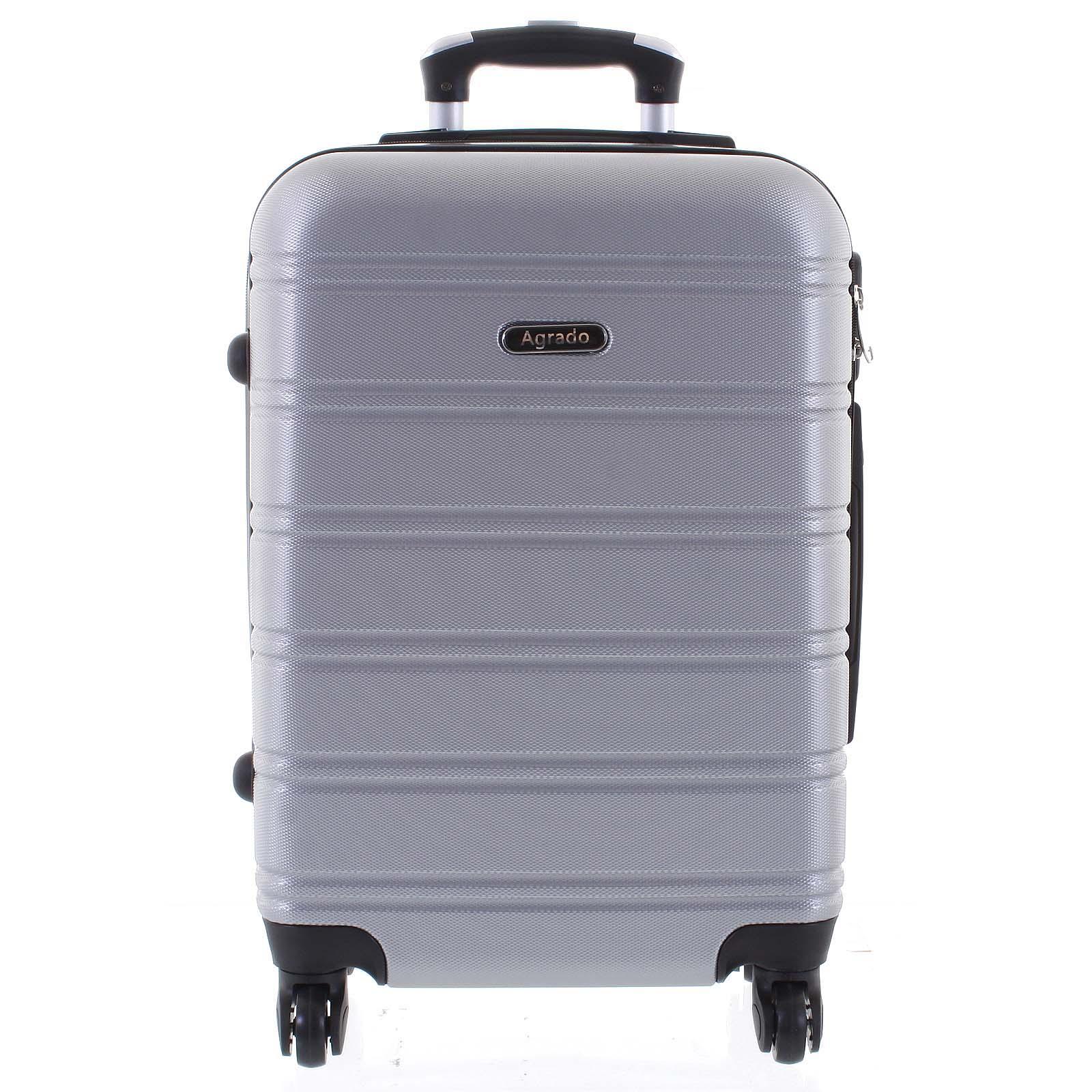 Kvalitní a elegantní pevný stříbrný cestovní kufr - Agrado Michael S