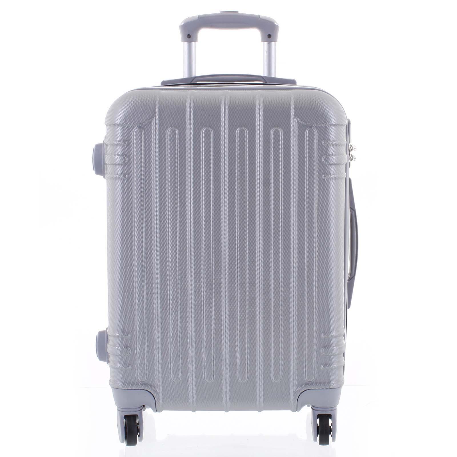 Moderní stříbrný skořepinový cestovní kufr - Ormi Dopp S