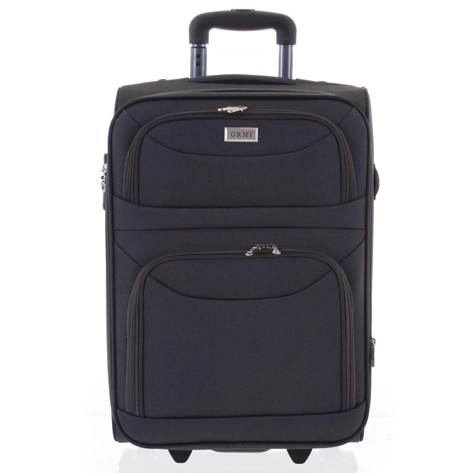 Klasický látkový tmavě šedý cestovní kufr - Ormi Stof L