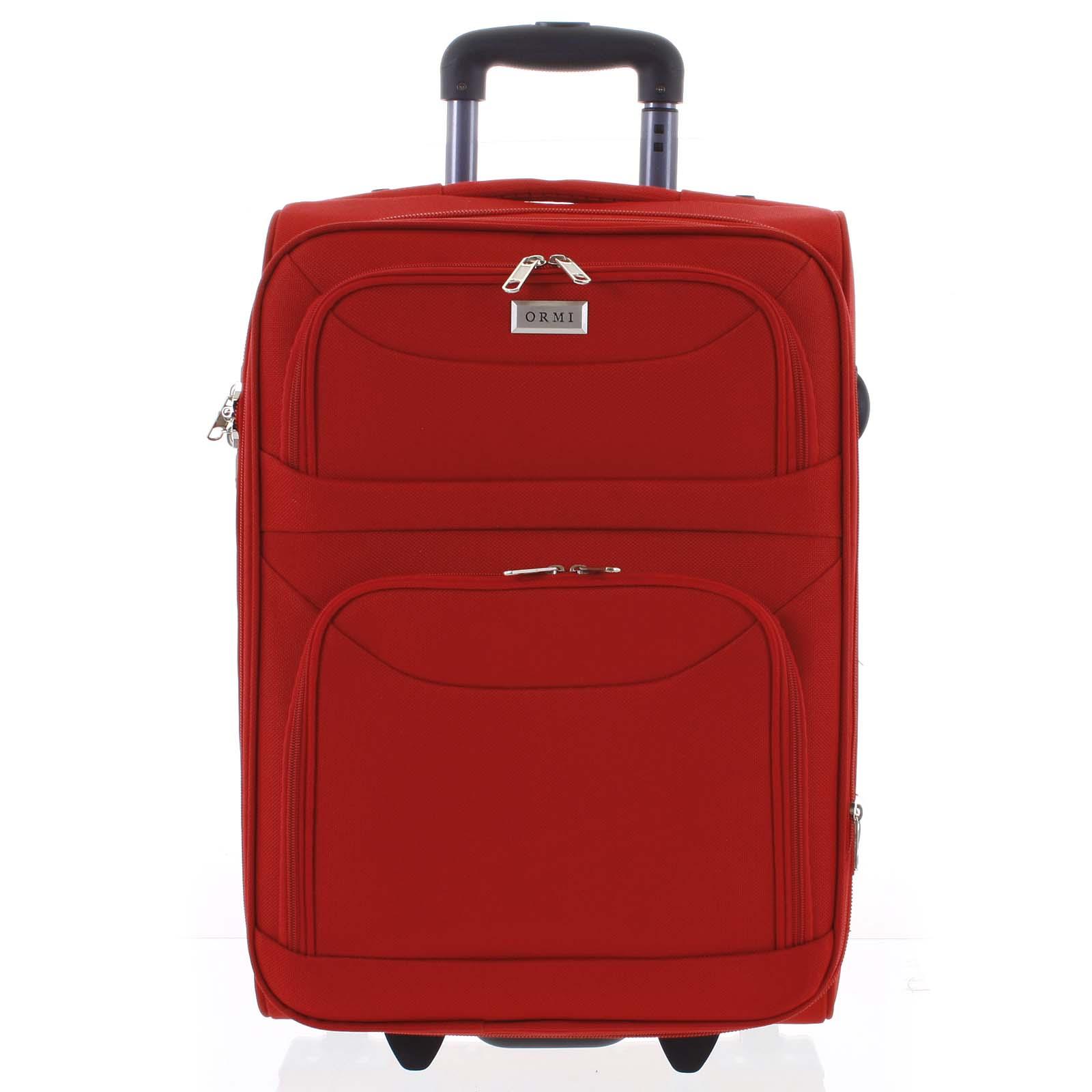Klasický látkový červený cestovní kufr - Ormi Stof L