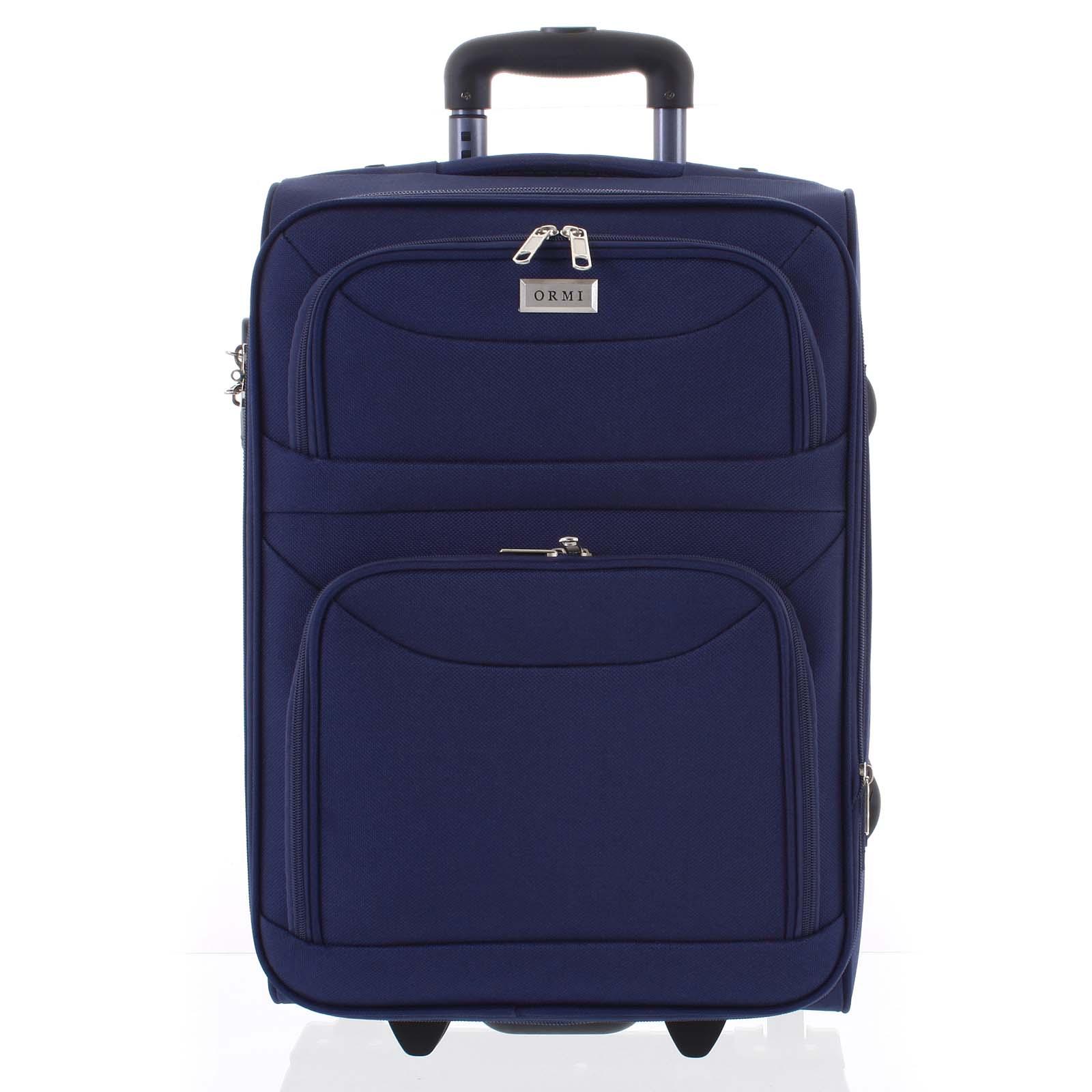 Klasický látkový modrý cestovní kufr - Ormi Stof L