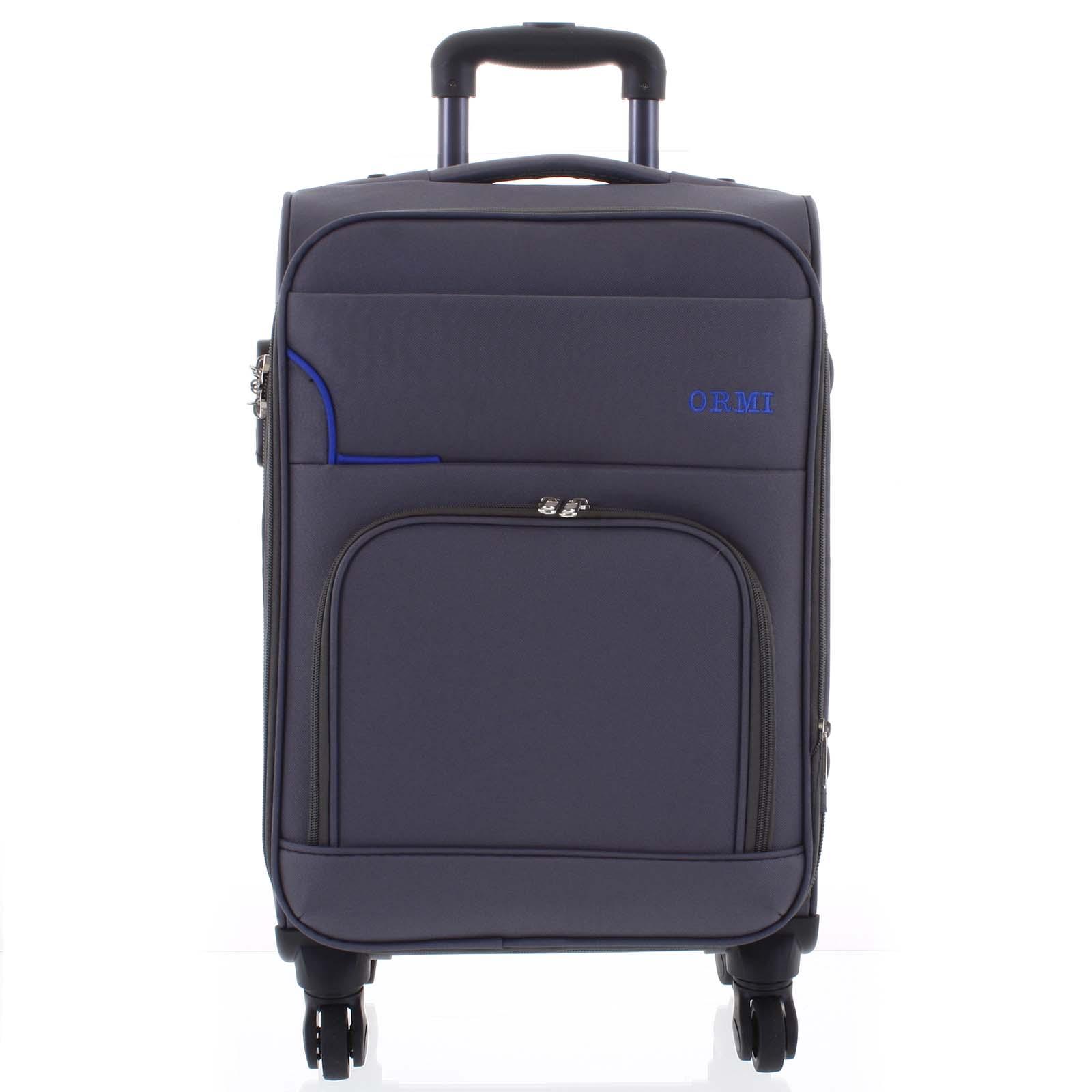 Cestovní látkový šedozelený kufr - Ormi Nitire M
