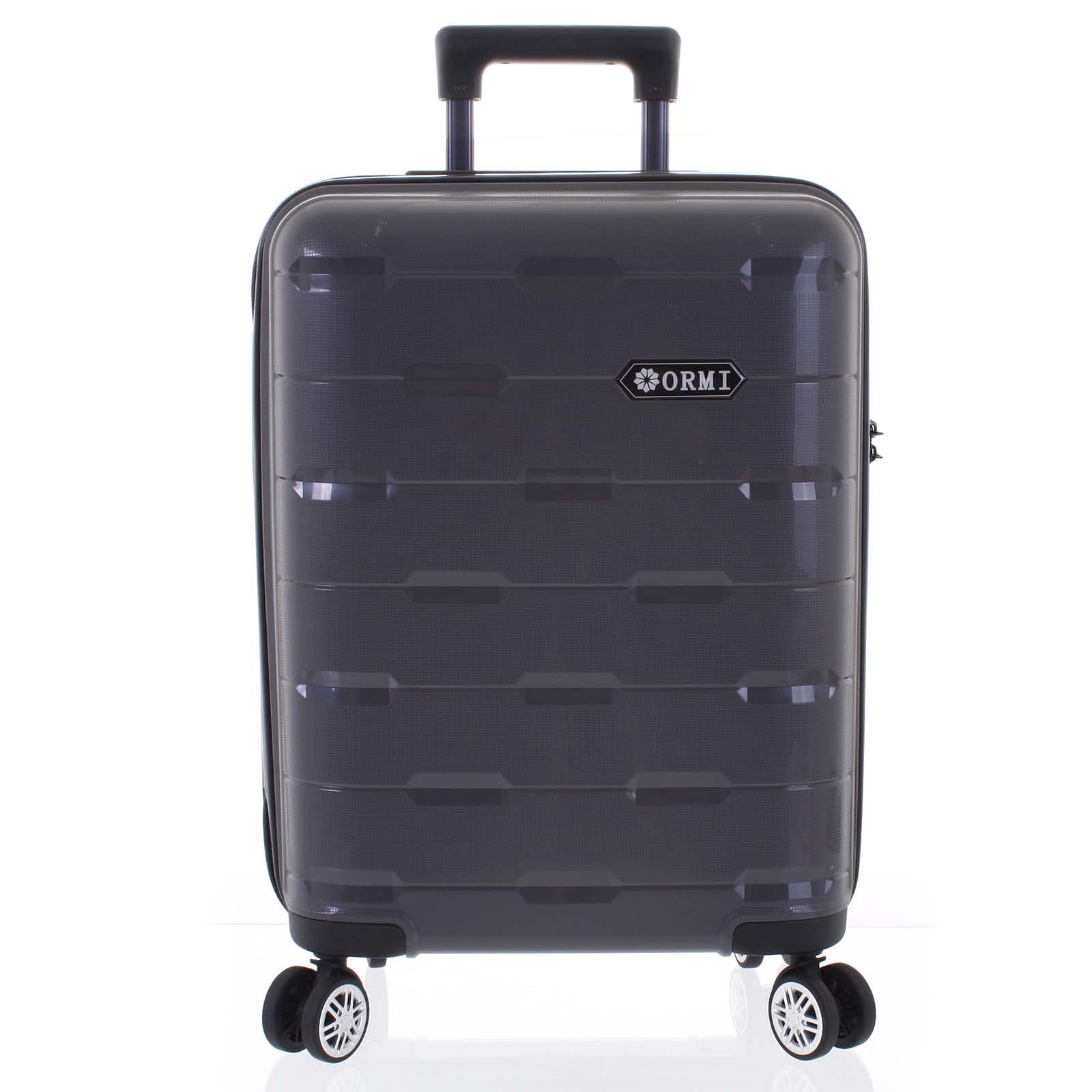 Luxusní tmavě šedý skořepinový vzorovaný kufr - Ormi Predhe S