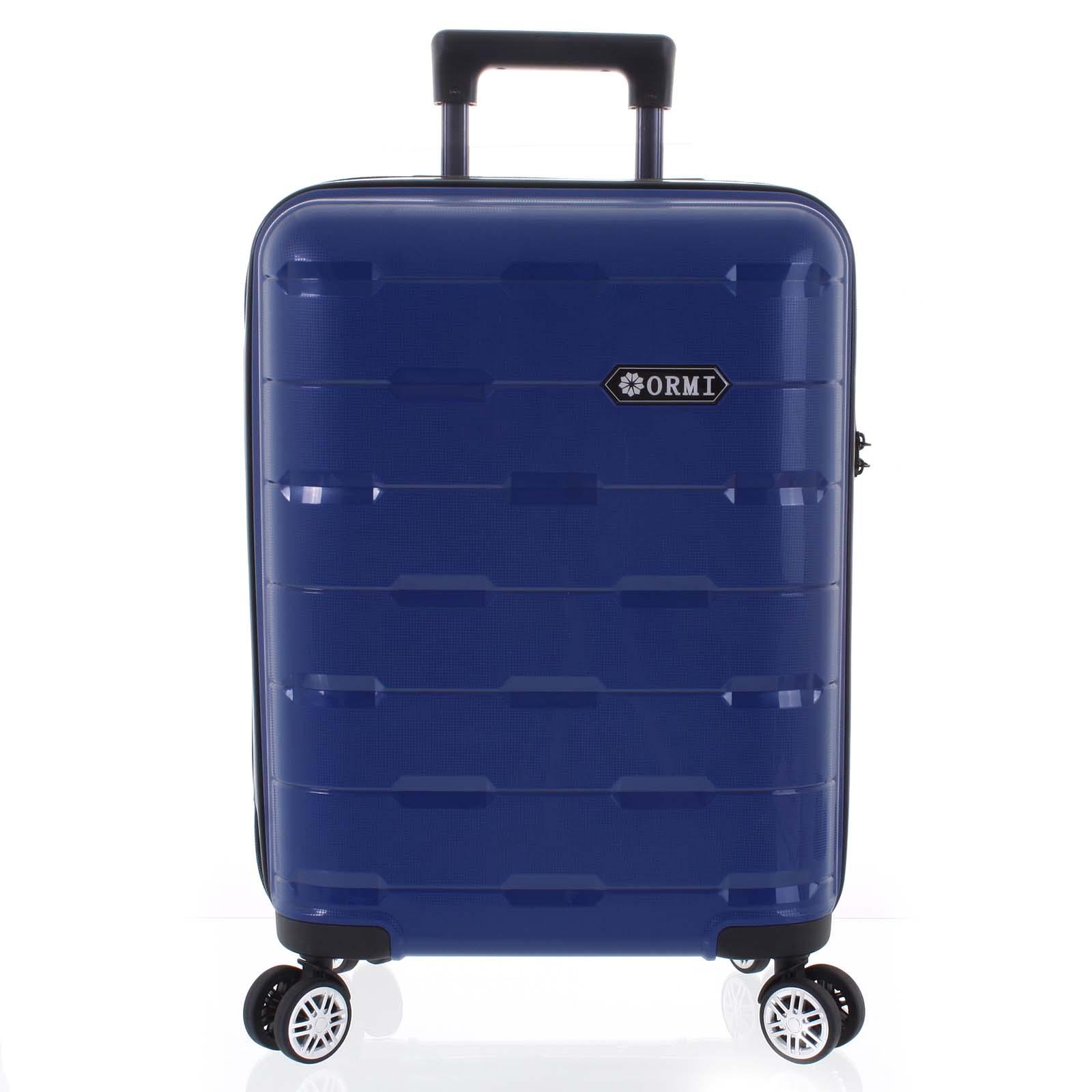 Luxusní modrý skořepinový vzorovaný kufr - Ormi Predhe M