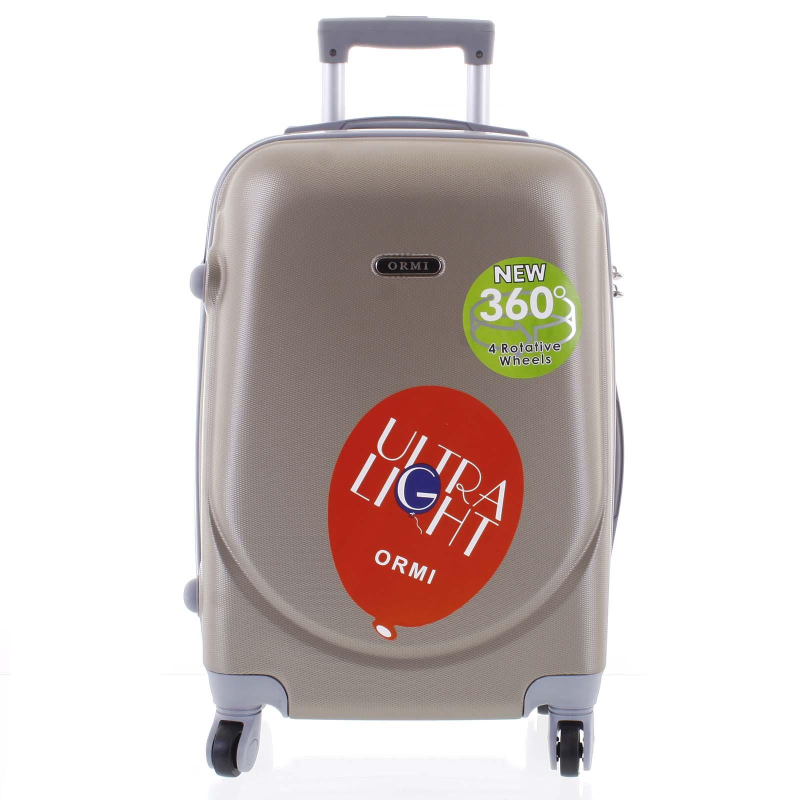 Pevný cestovní kufr béžově zlatý - Ormi Evenger L