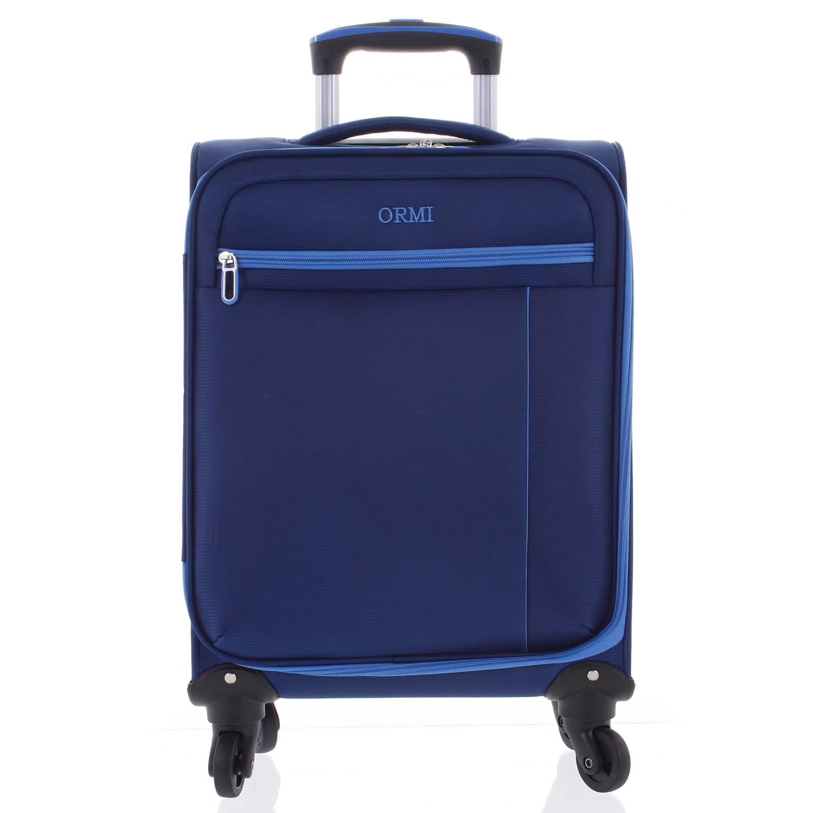 Kvalitní elegantní látkový modrý cestovní kufr - Ormi Mada M