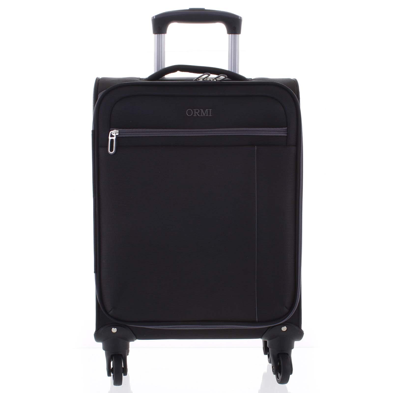 Kvalitní elegantní látkový černý cestovní kufr - Ormi Mada L