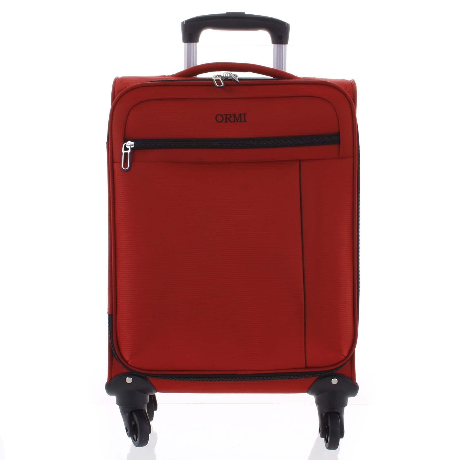 Kvalitní elegantní látkový červený cestovní kufr - Ormi Mada M