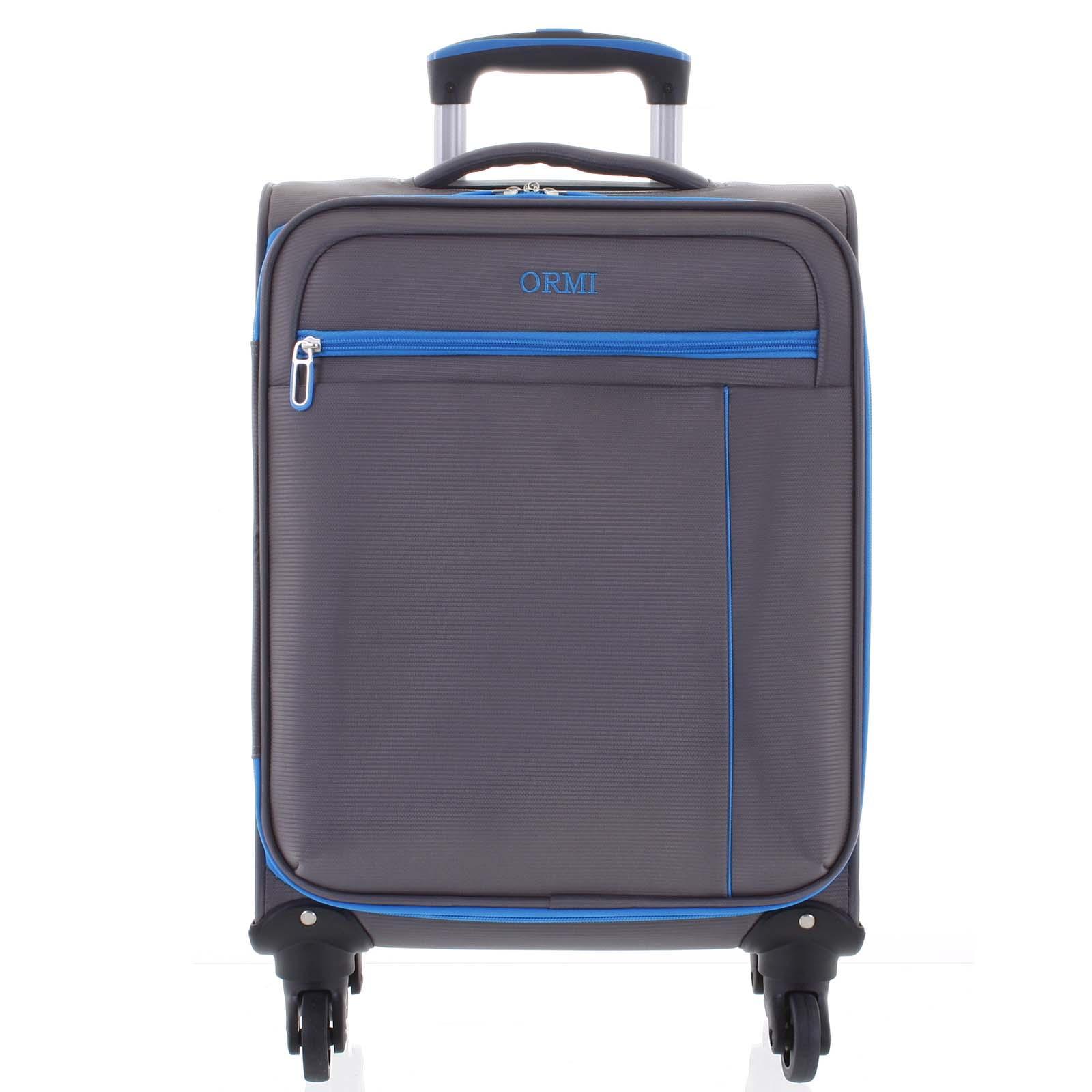 Kvalitní elegantní látkový šedý cestovní kufr - Ormi Mada M