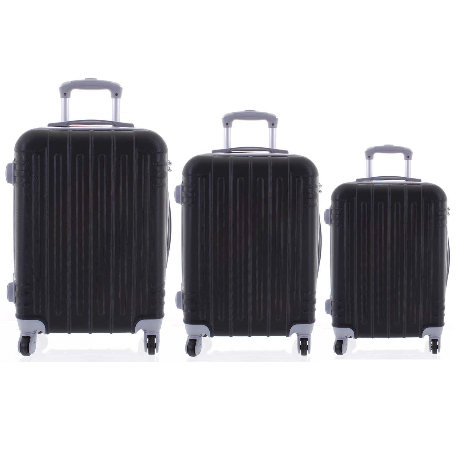 Moderní černý skořepinový cestovní kufr sada - Ormi Dopp S, M, L