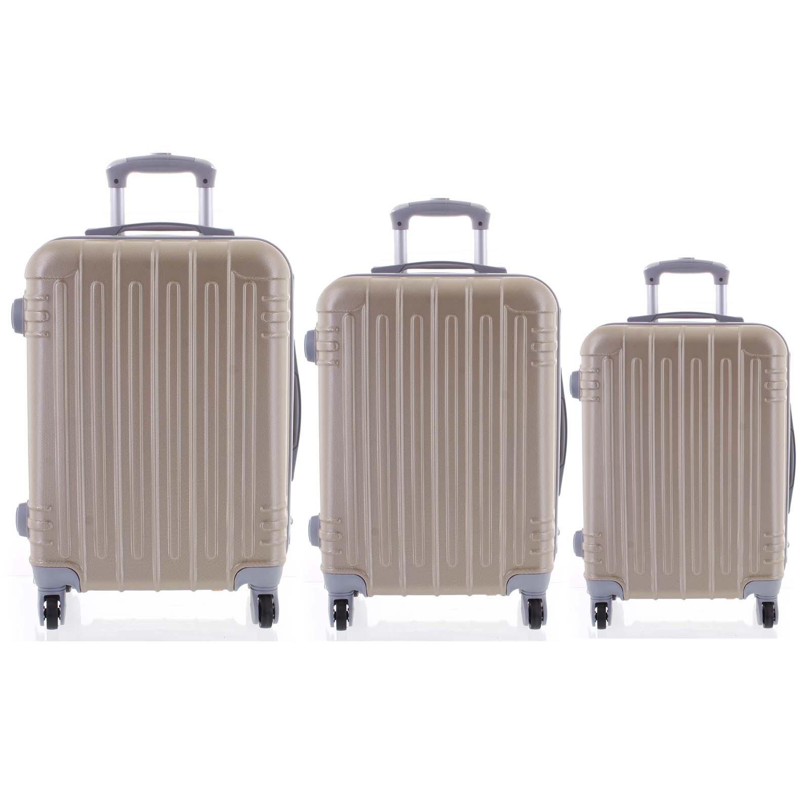 Moderní zlatý skořepinový cestovní kufr sada - Ormi Dopp S, M, L