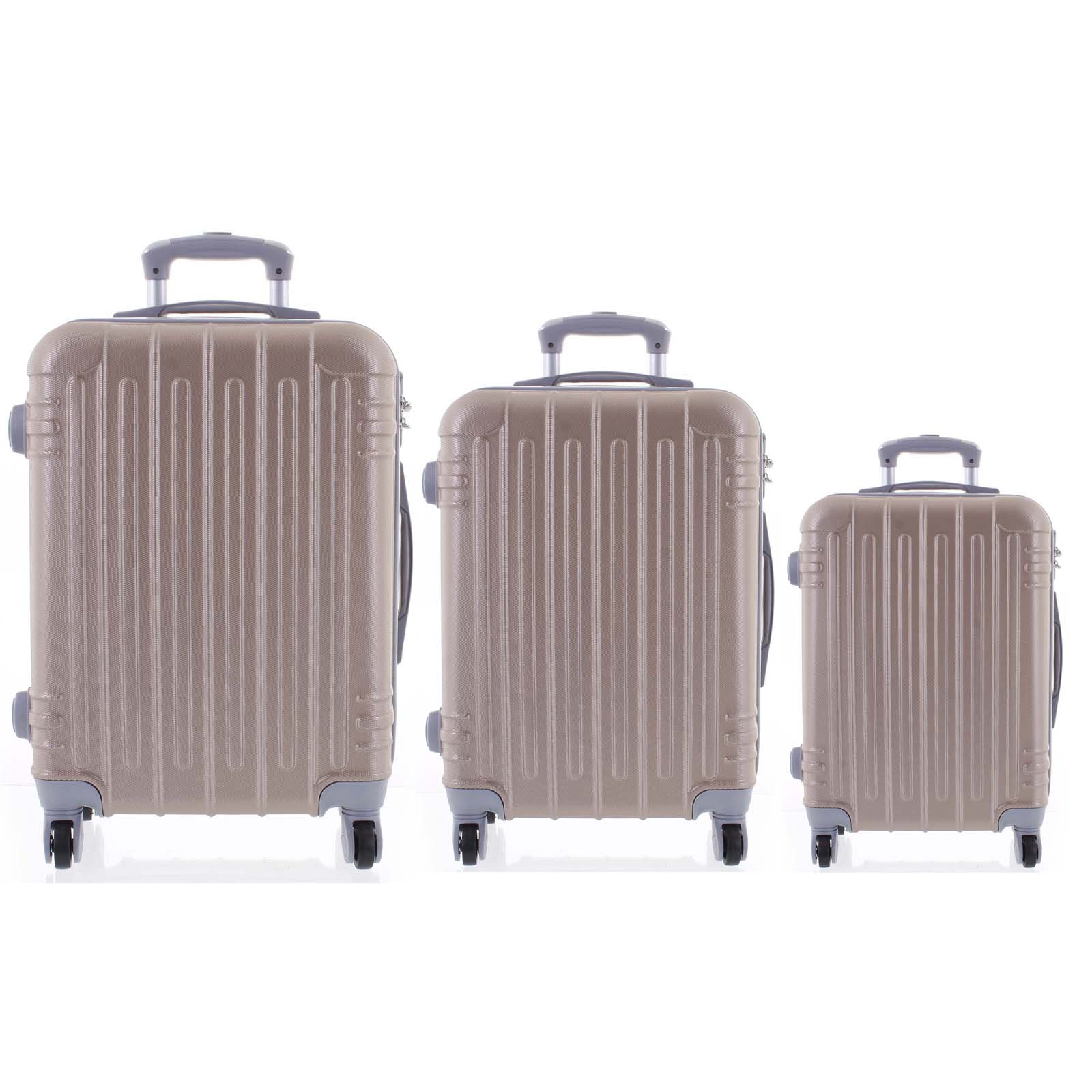 Moderní růžově zlatý skořepinový cestovní kufr sada - Ormi Dopp S, M, L