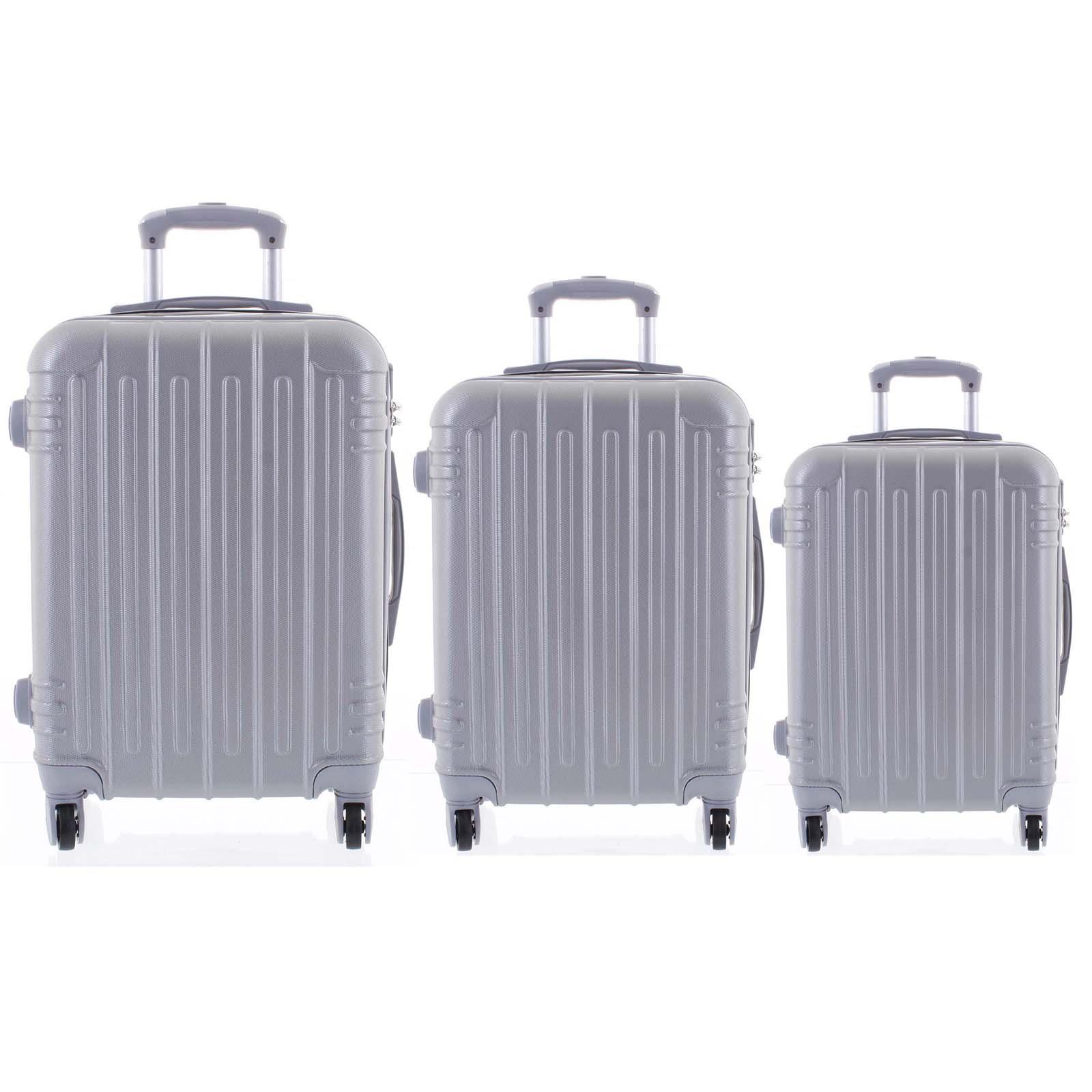 Moderní stříbrný skořepinový cestovní kufr sada - Ormi Dopp S, M, L
