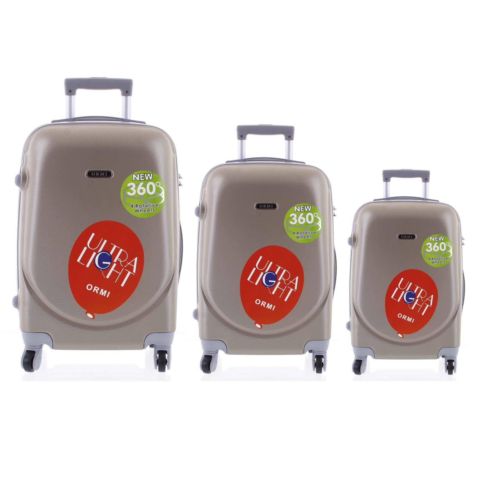 Pevný cestovní kufr béžově zlatý sada - Ormi Evenger S, M, L