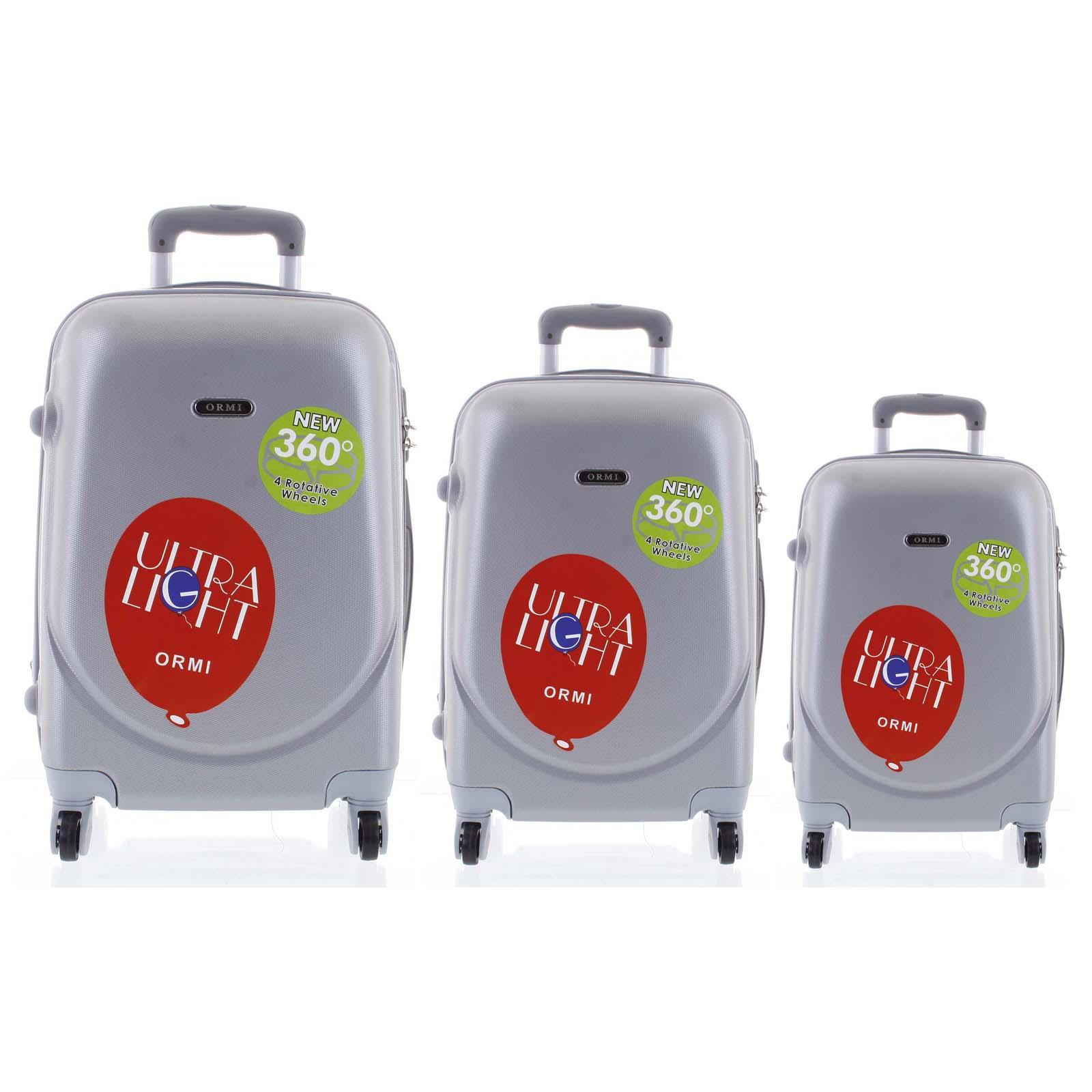 Pevný cestovní kufr světle šedý sada - Ormi Evenger S, M, L