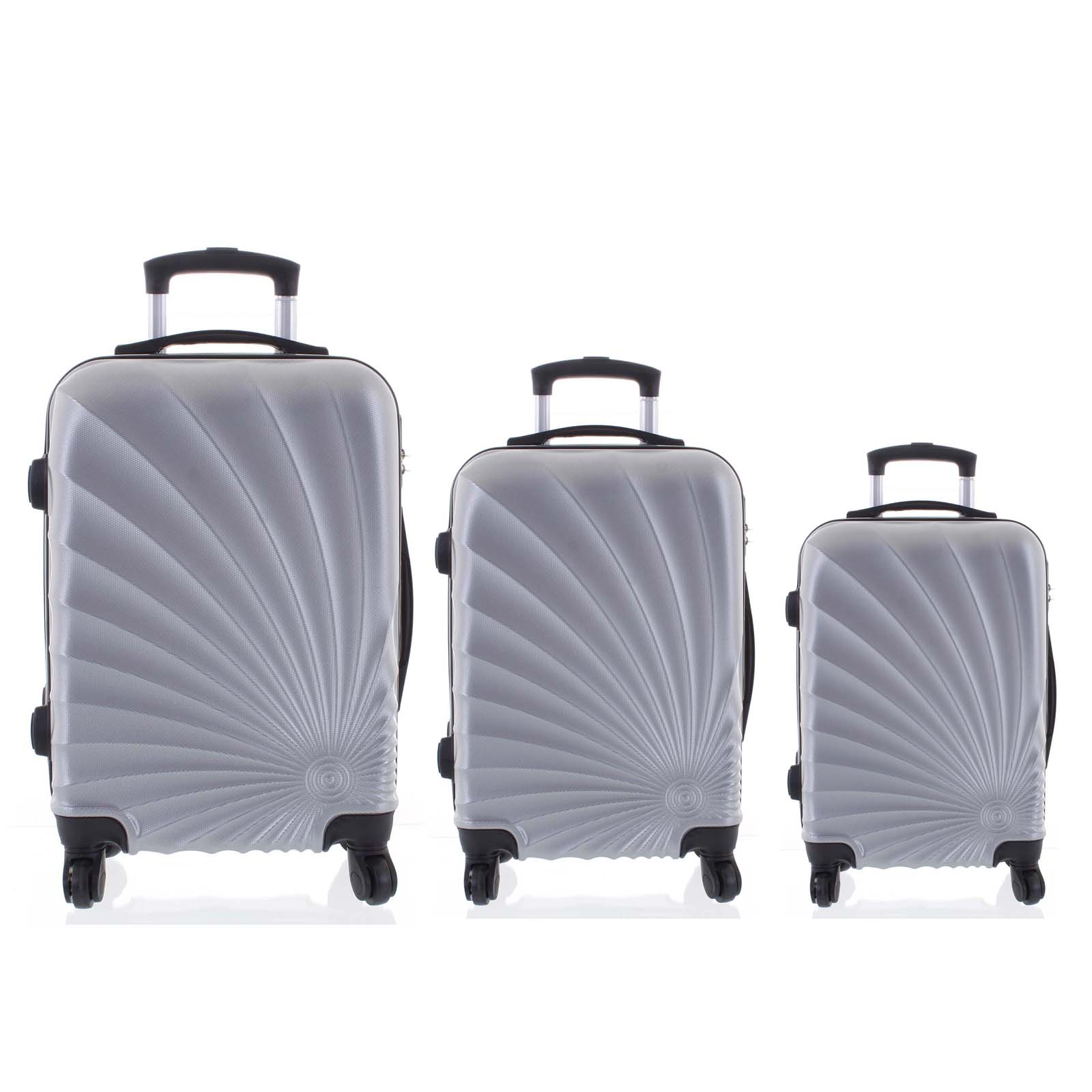Originální pevný cestovní kufr světle stříbrný sada - Ormi Sheli L, M, S