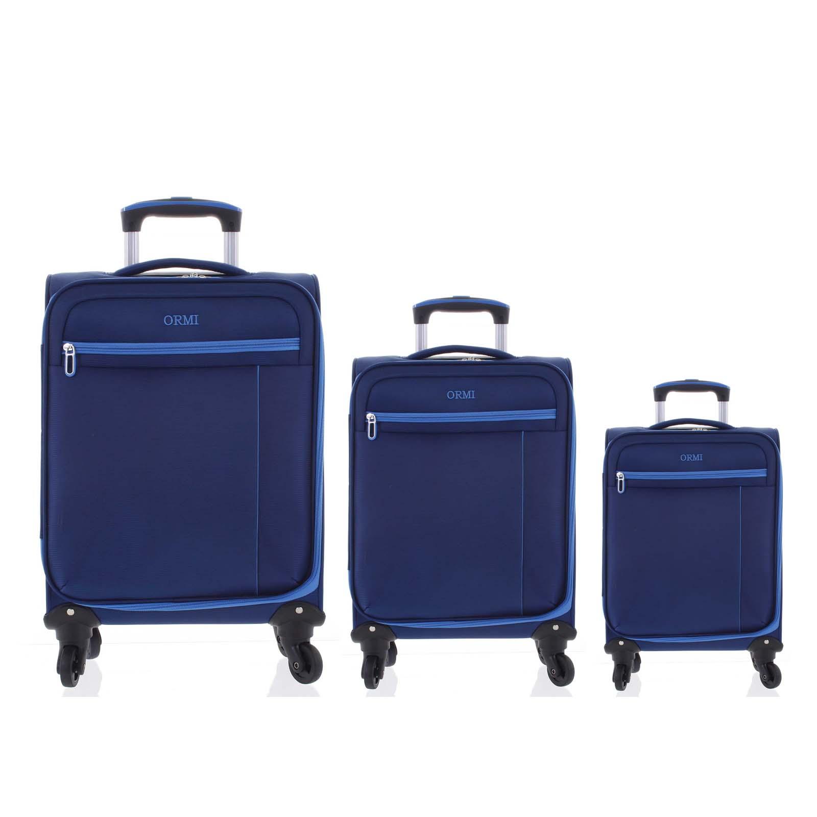 Kvalitní elegantní látkový modrý cestovní kufr sada - Ormi Mada L, M, S