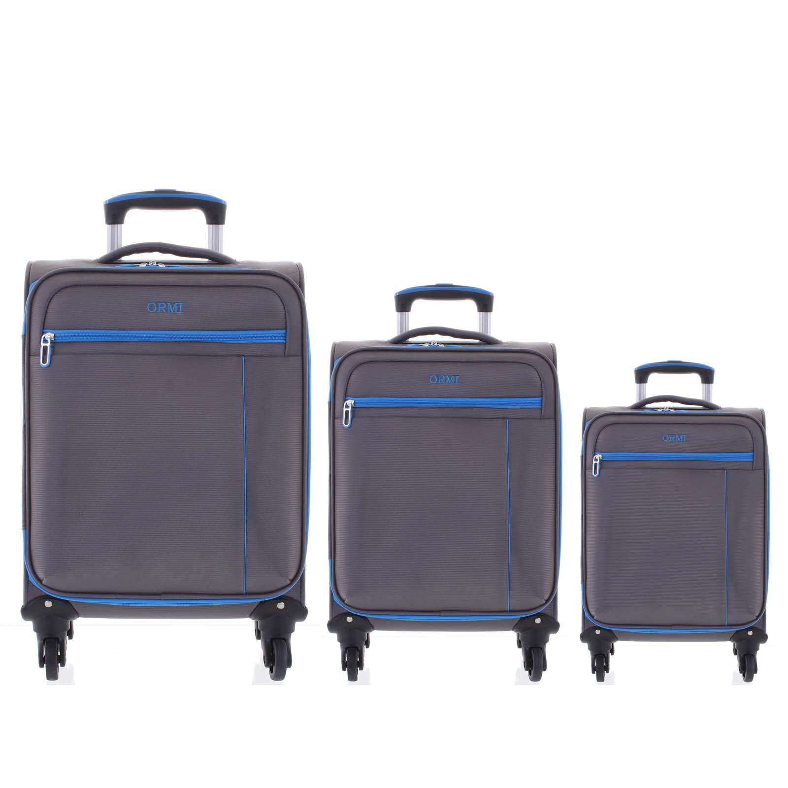 Kvalitní elegantní látkový šedý cestovní kufr sada - Ormi Mada L, M, S
