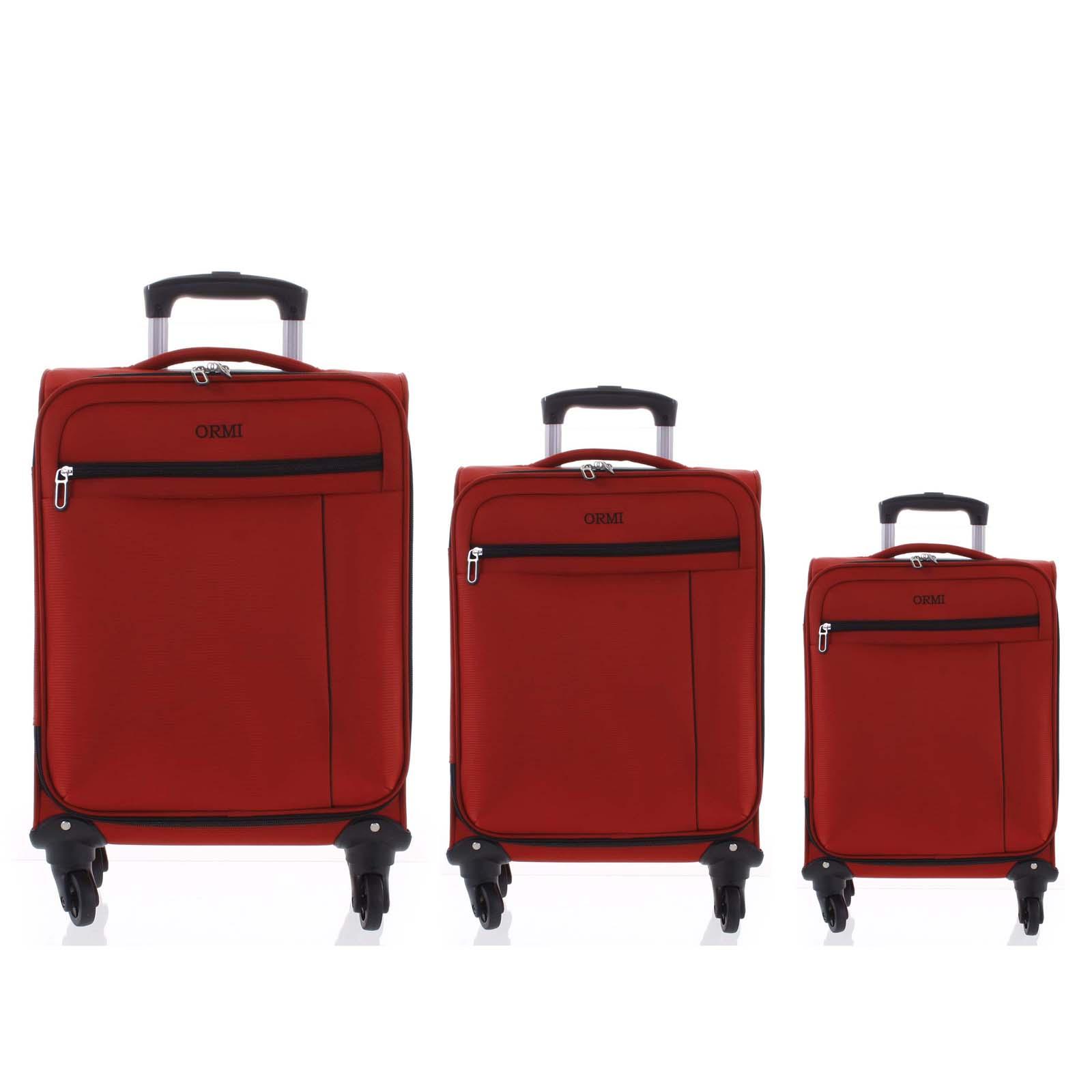 Kvalitní elegantní látkový červený cestovní kufr sada - Ormi Mada L, M, S