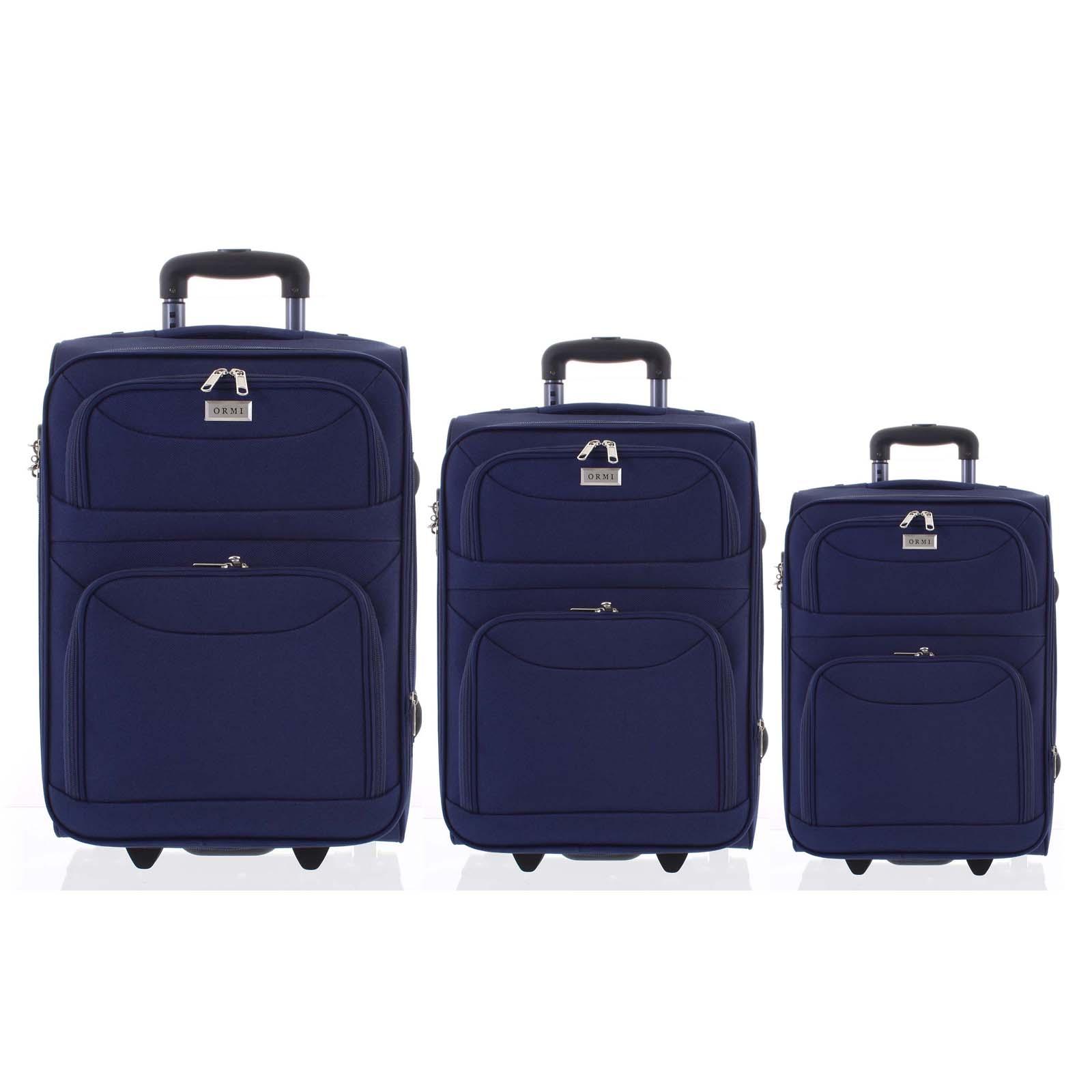 Klasický látkový modrý cestovní kufr sada - Ormi Stof S, M, L