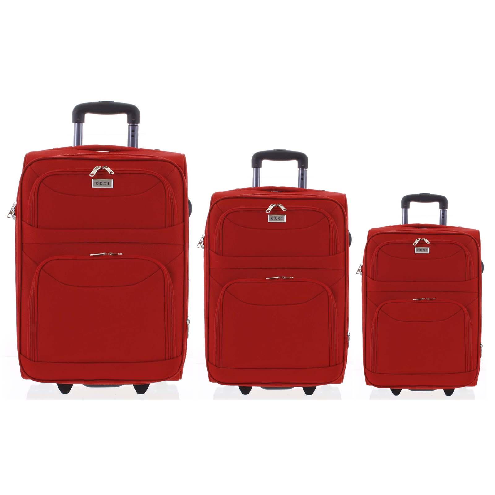 Klasický látkový červený cestovní kufr sada - Ormi Stof S, M, L