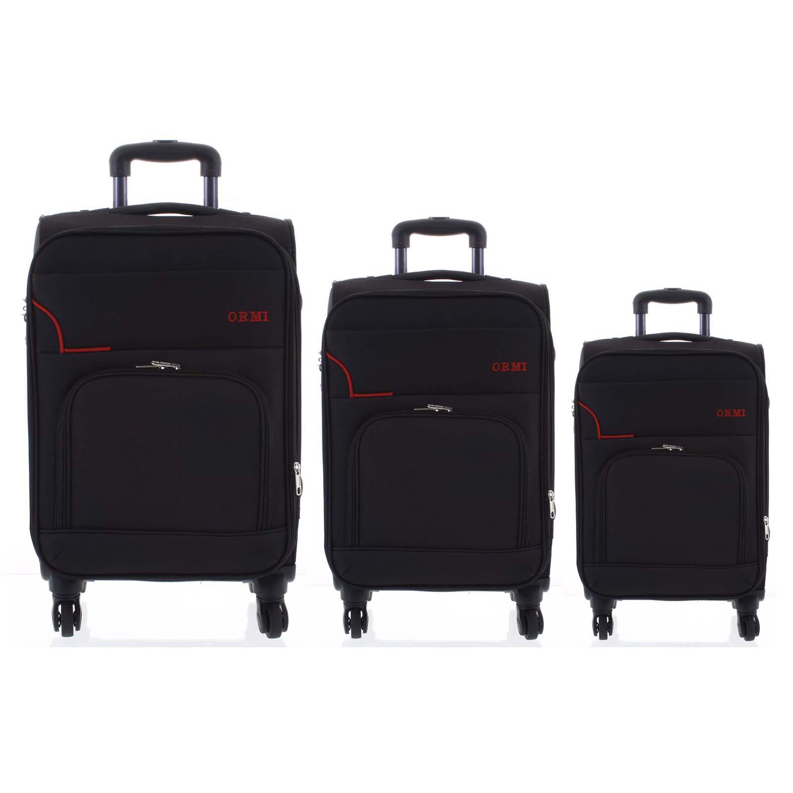 Cestovní látkový černý kufr sada - Ormi Nitire S, M, L