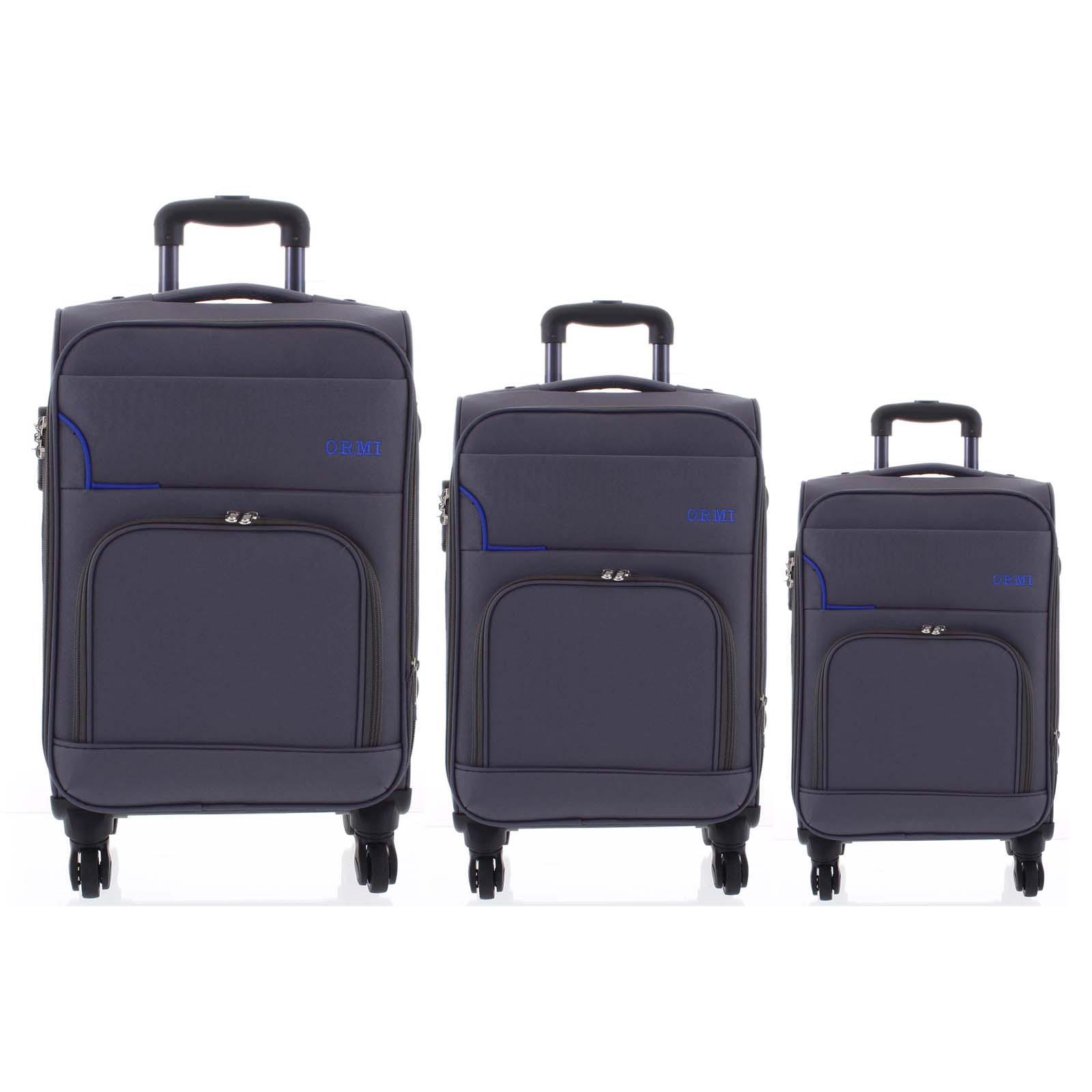 Cestovní látkový šedozelený kufr sada - Ormi Nitire S, M, L