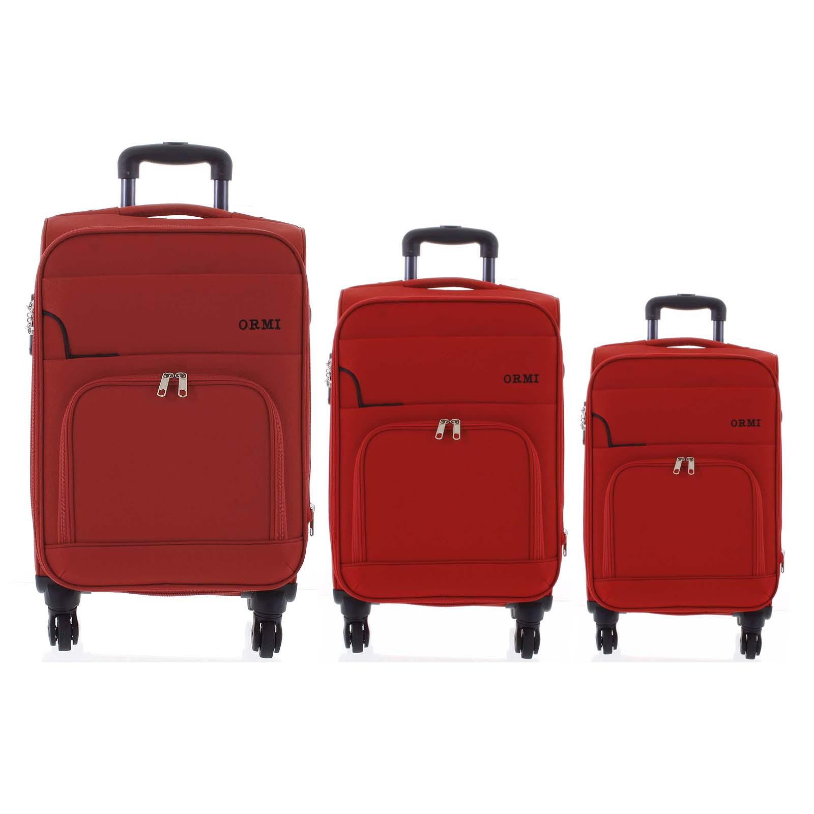 Cestovní látkový červený kufr sada - Ormi Nitire S, M, L