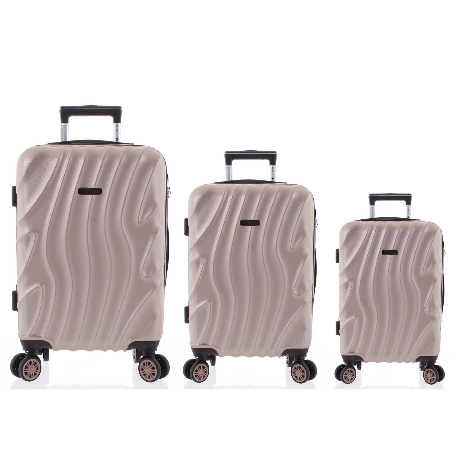Pevný originální růžově zlatý cestovní kufr sada - Ormi Qadhifa L, M, S