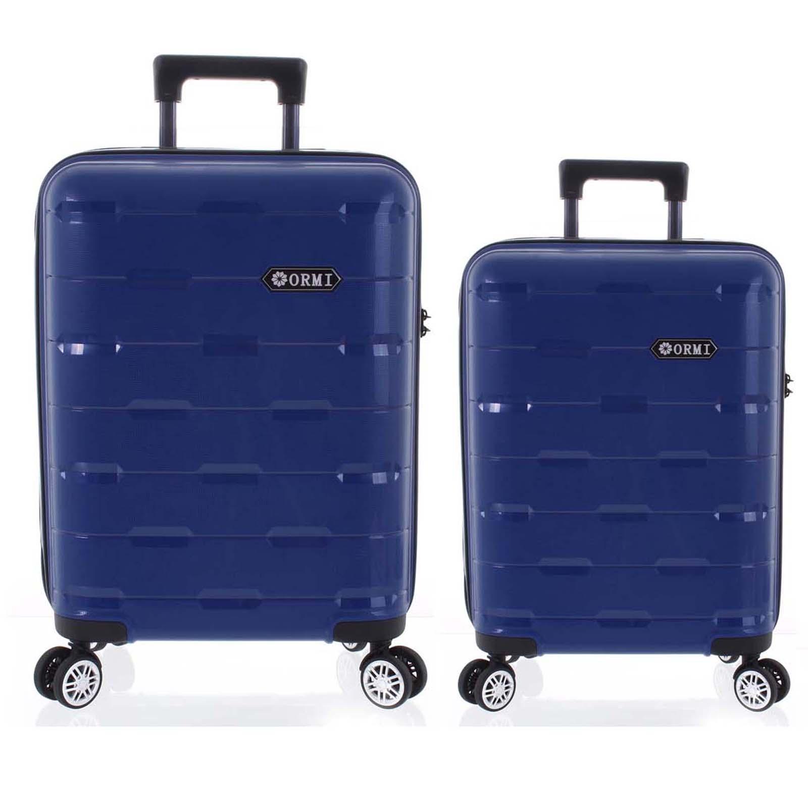Luxusní modrý skořepinový vzorovaný kufr sada - Ormi Predhe M, S