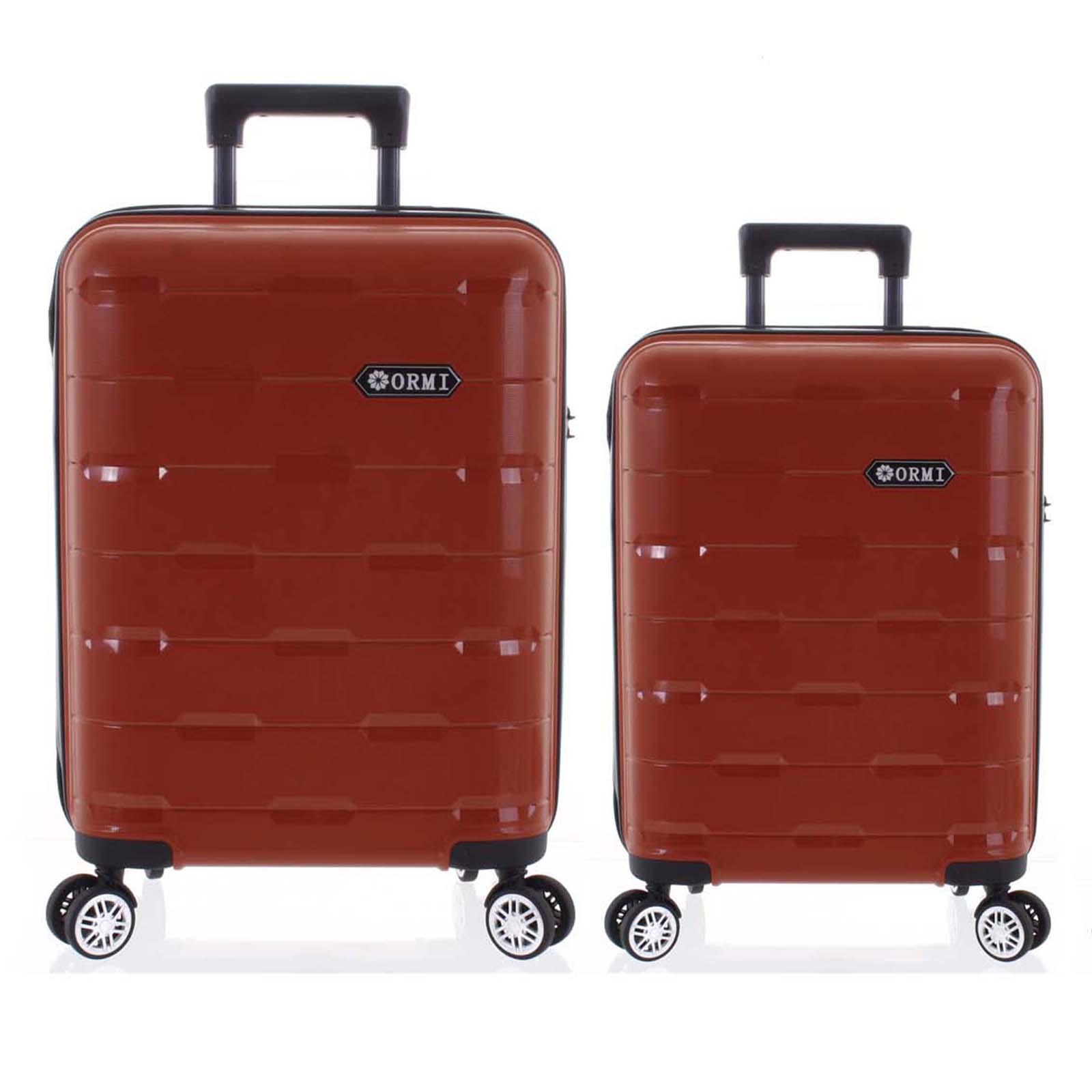 Luxusní červený skořepinový vzorovaný kufr sada - Ormi Predhe M, S