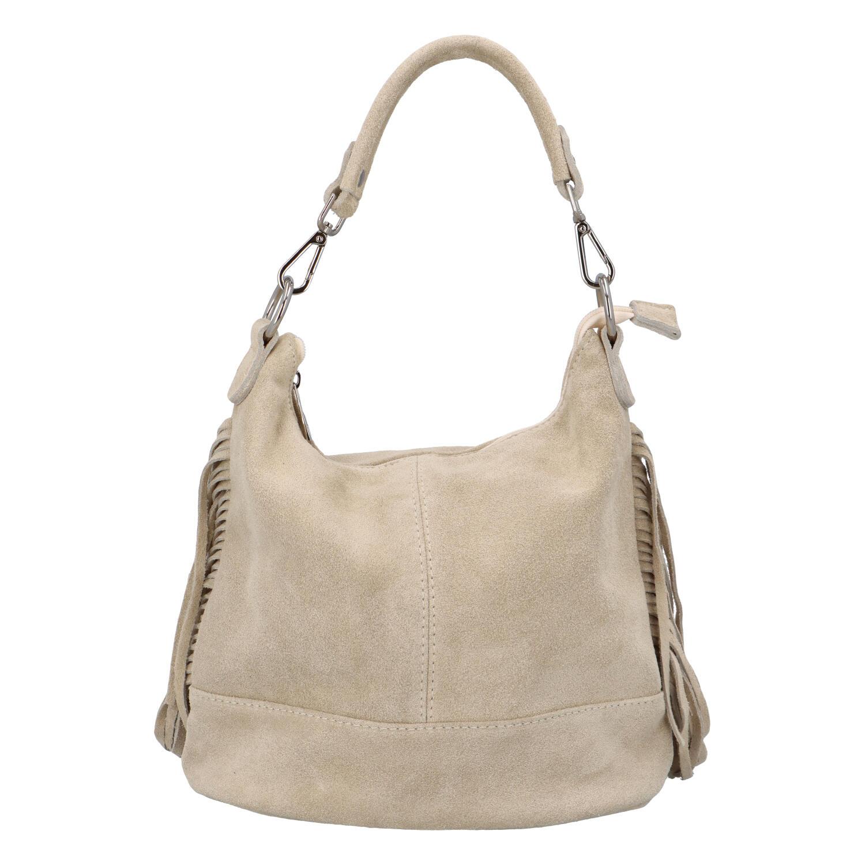 Dámská kožená kabelka přes rameno béžová - ItalY Nidden