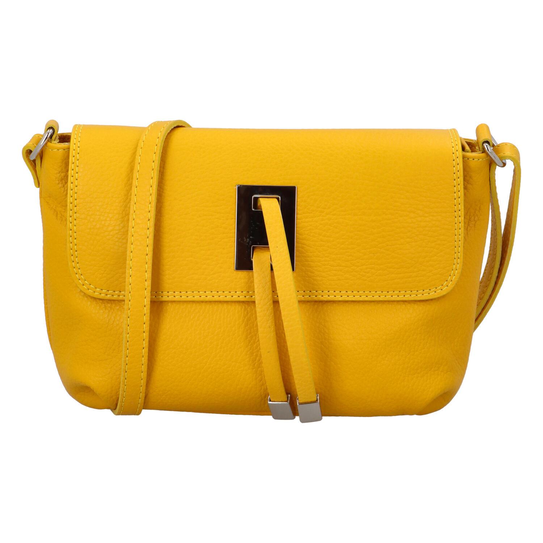 Dámská kožená crossbody kabelka žlutá - ItalY Porta