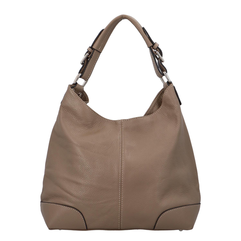 Dámská kožená kabelka tmavá taupe - ItalY Inpelle