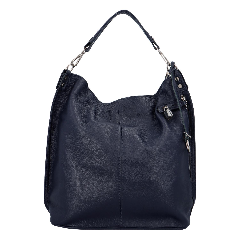 Velká kožená dámská kabelka tmavě modrá - ItalY Celinda Mat