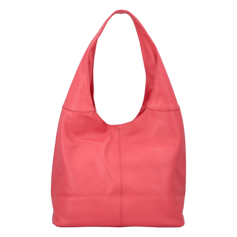Dámská kožená kabelka přes rameno lososově růžová - ItalY SkyFull