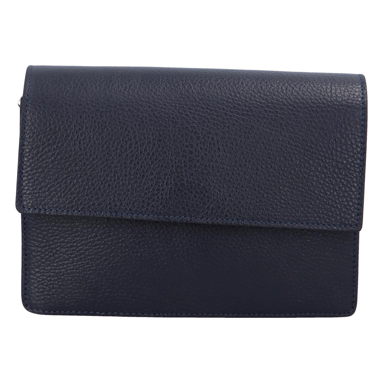 Elegantní kožená kabelka tmavě modrá - ItalY Kenesis