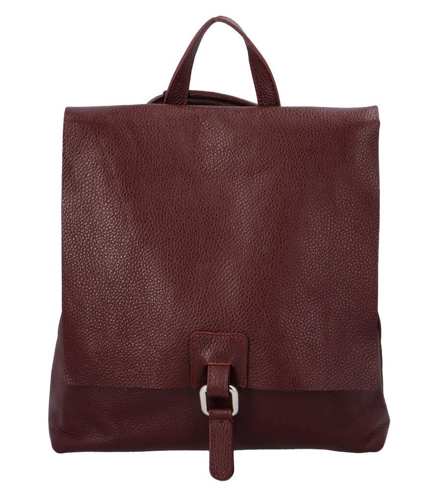 Dámský kožený batůžek kabelka vínový - ItalY Francesco