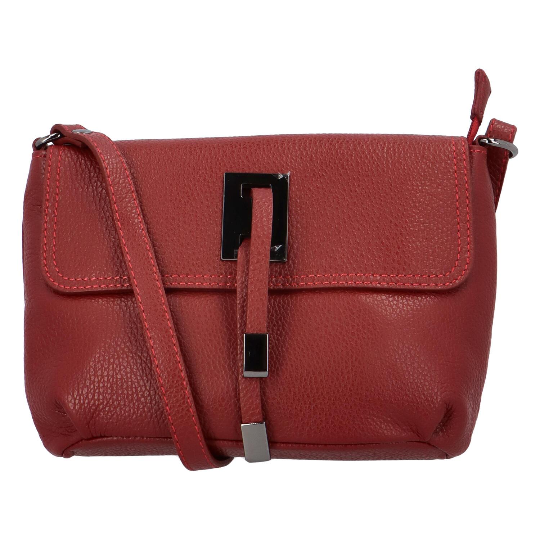 Dámská kožená crossbody kabelka tmavě červená - ItalY Porta