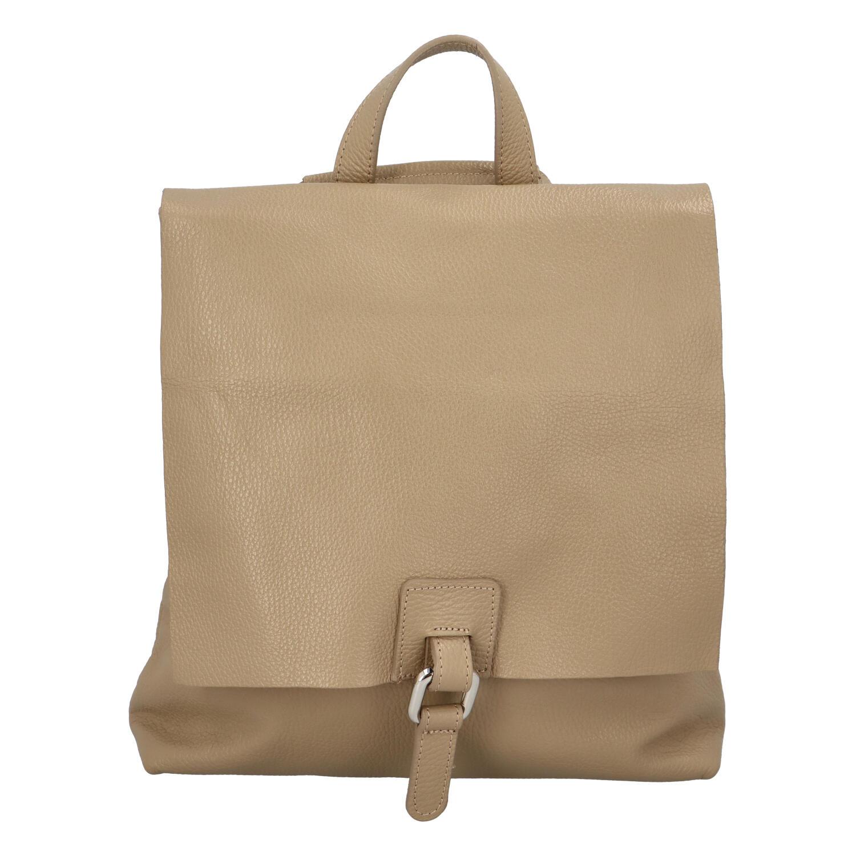 Dámský kožený batůžek kabelka světlý taupe - ItalY Francesco