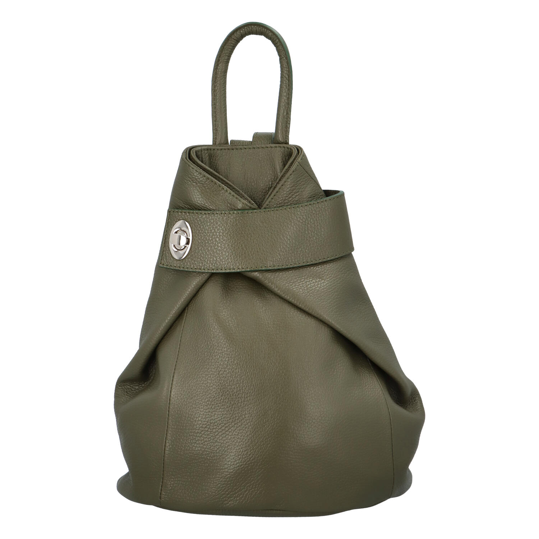 Dámský kožený batůžek tmavě zelený - ItalY Vazky