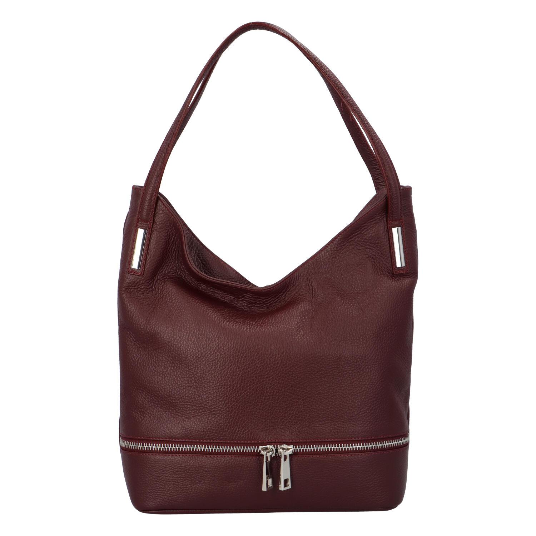 Dámská kožená měkká kabelka přes rameno bordó - ItalY Nellis