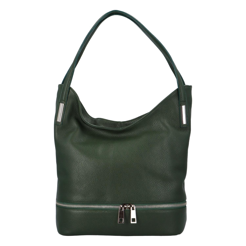 Dámská kožená měkká kabelka přes rameno tmavě zelená - ItalY Nellis