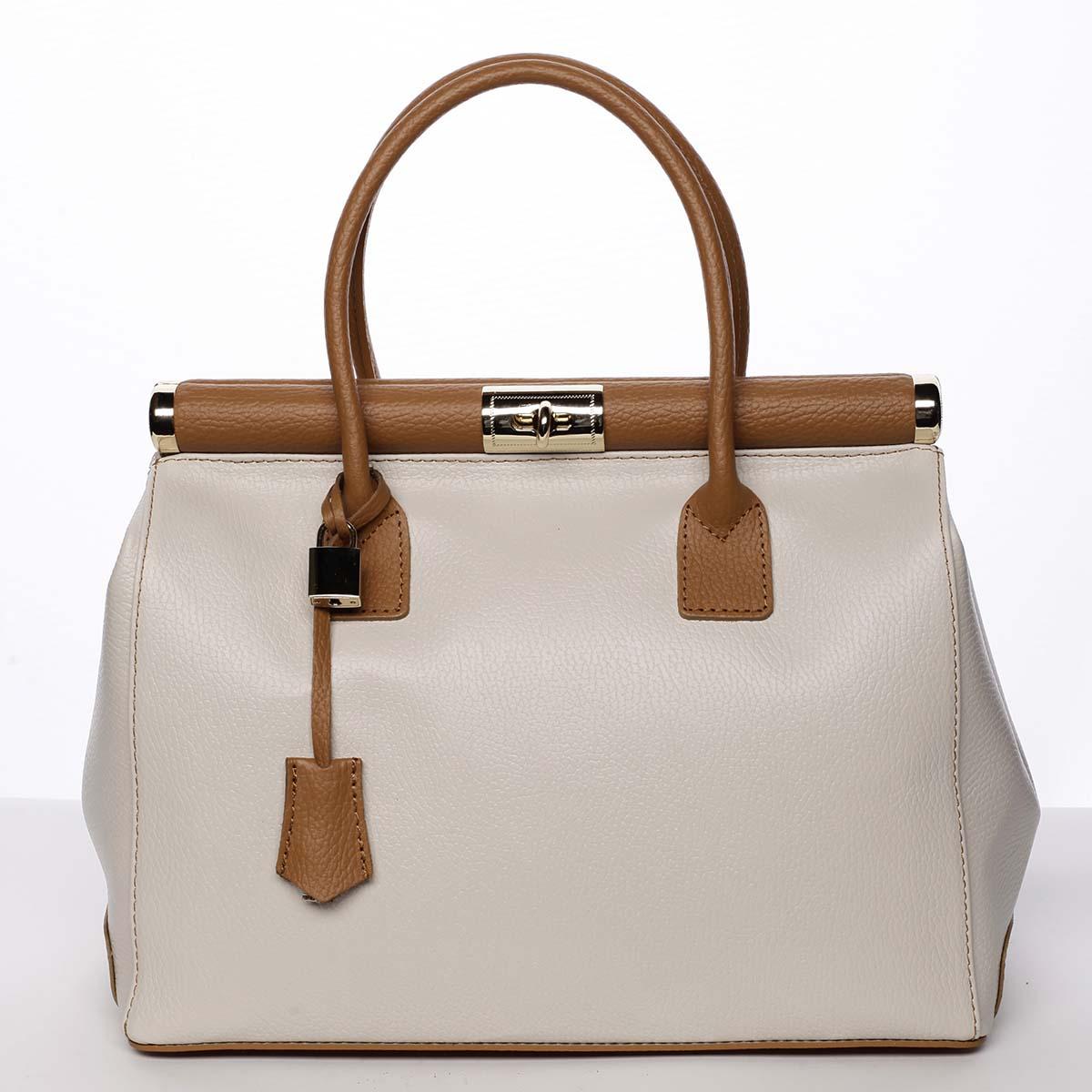 Módní originální dámská kožená kabelka do ruky béžová - ItalY Hila