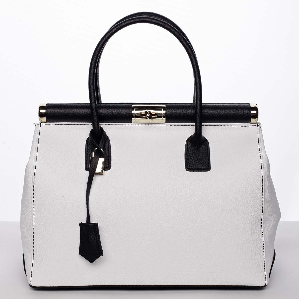 Módní originální dámská kožená kabelka do ruky bílá - ItalY Hila