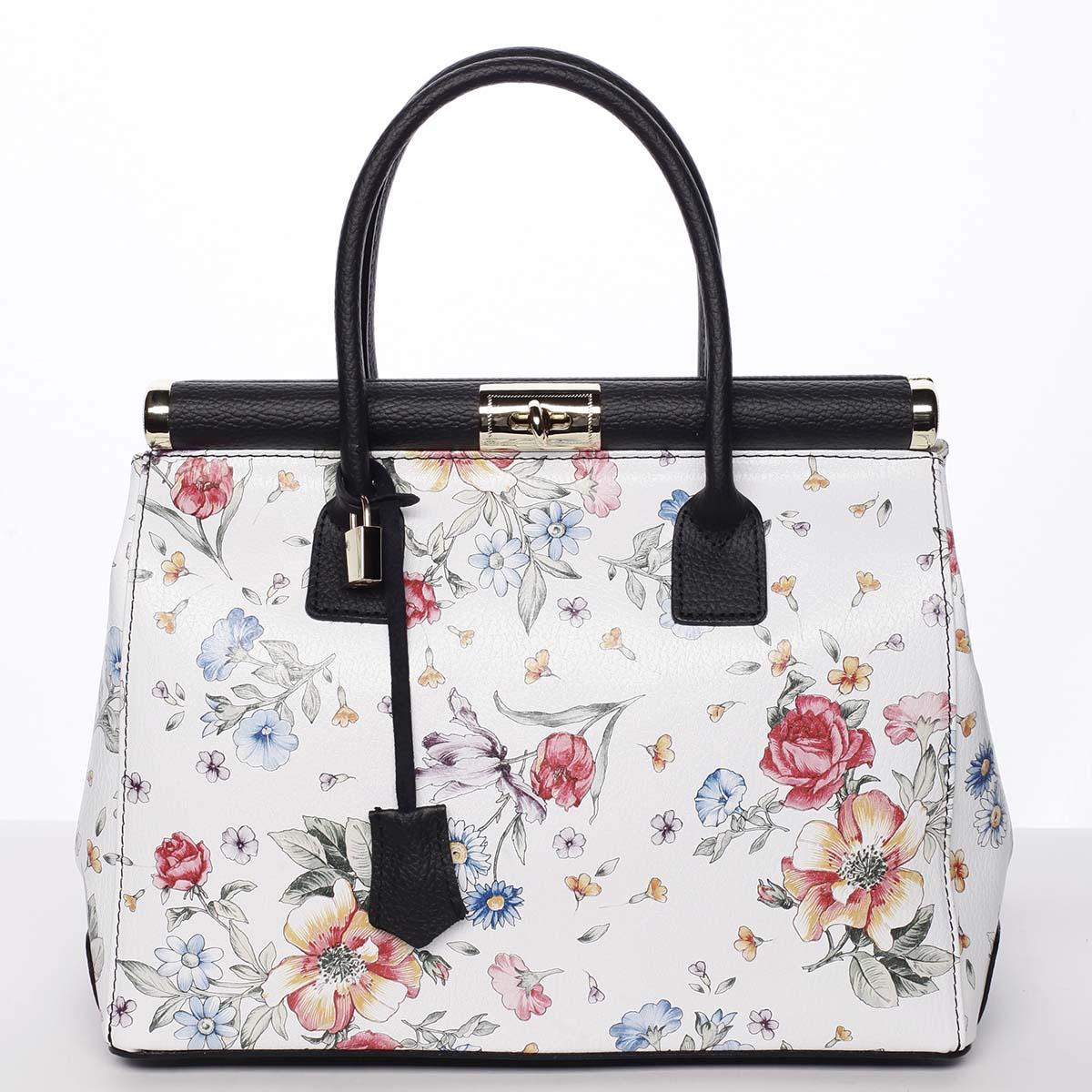 Módní originální dámská kožená kabelka do ruky květinová černá - ItalY Hila