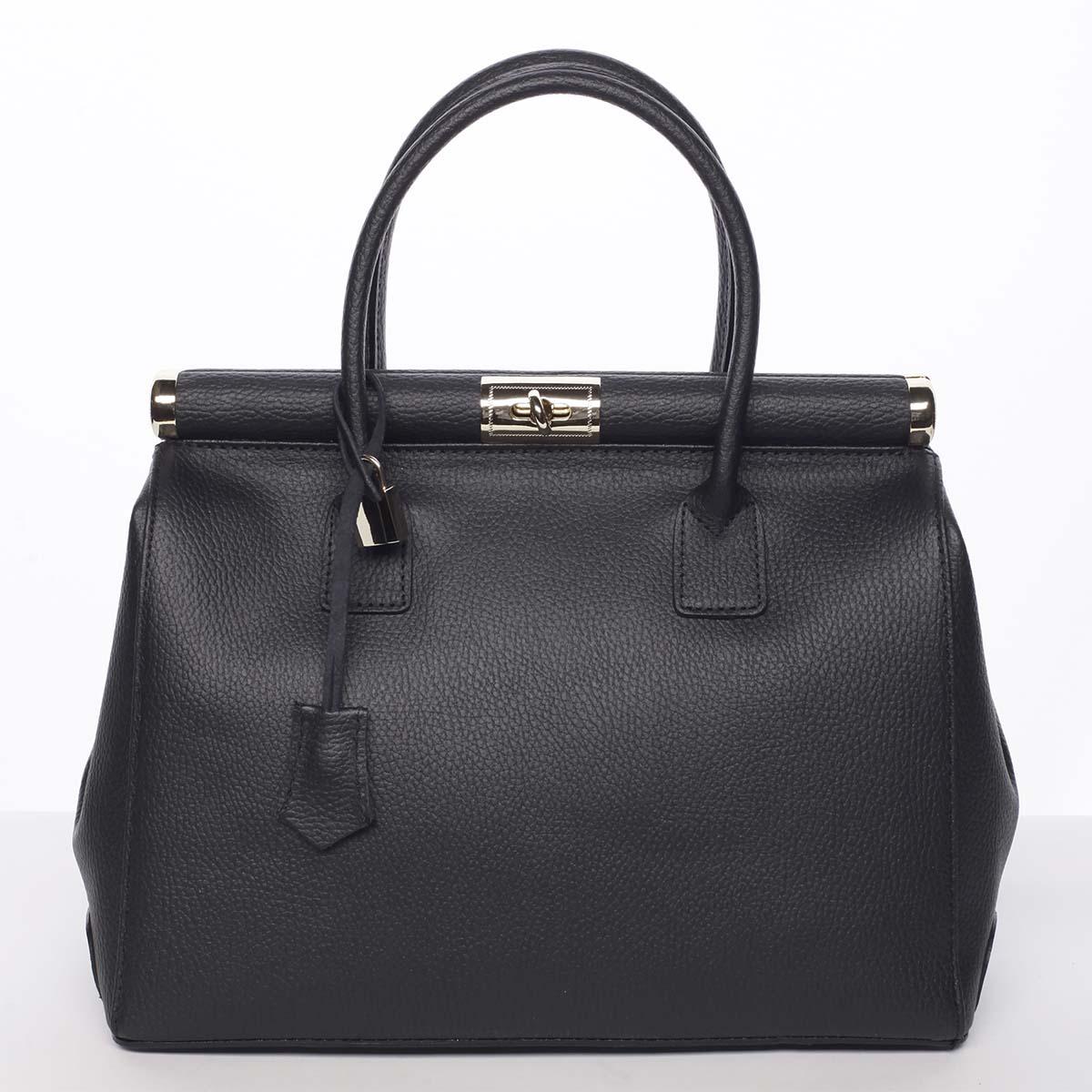 Módní originální dámská kožená kabelka do ruky černá - ItalY Hila