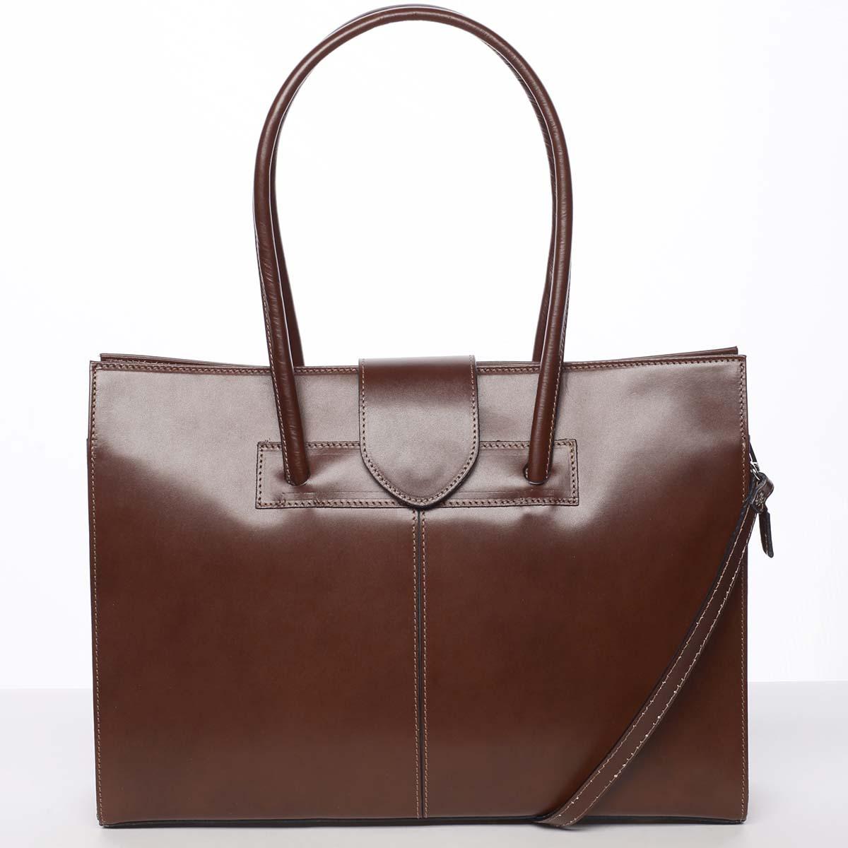Elegantní a módní dámská kožená kabelka hnědá - ItalY Alison