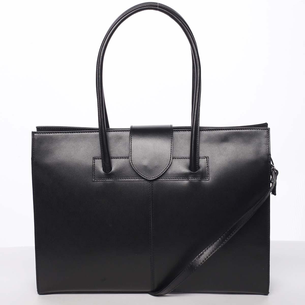 Elegantní a módní dámská kožená kabelka černá - ItalY Alison